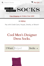 South Street Socks - Mobile Website